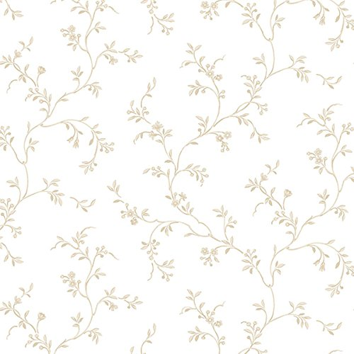 Manhattan Comfort NWAB27623 Clearwater Petite Floral Vine Wallpaper, Tan/White