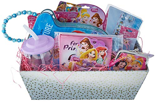 Girls Gift Baskets - Disney Princess Themed Gifts Idea for Girls (10 Jewelry & Cosmetics items)