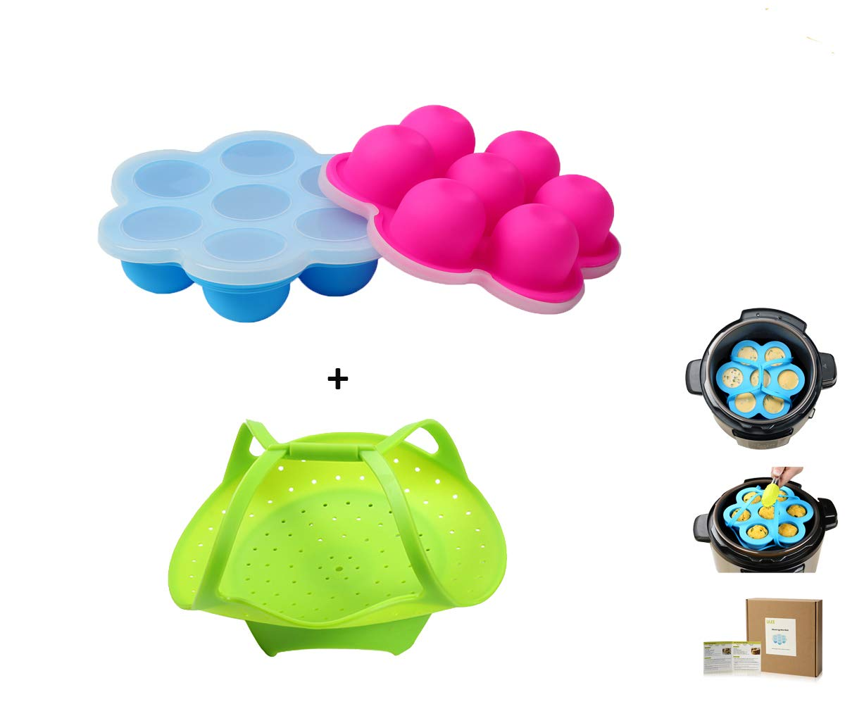 2 Mini Egg Bites Molds for 3 qt Instant Pot Accessory - Silicone Steamer with Handles Included for Easily Taking the Mold Out the Hot Pot