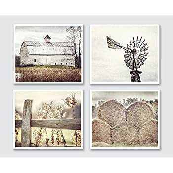Farmhouse Decor Print Set Of 4, Beige, Brown, Yellow, Tan, Country
