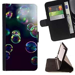 BullDog Case - FOR/Samsung Galaxy S6 / - / bubbles yellow purple nature black /- Monedero de cuero de la PU Llevar cubierta de la caja con el ID Credit Card Slots Flip funda de cuer
