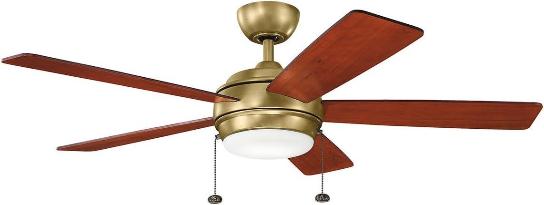 Kichler 330174NBR, Starkk LED Natural Brass 52 Ceiling Fan with Light