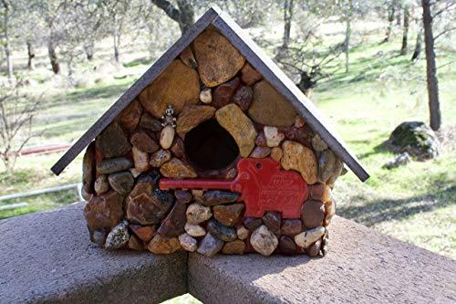 Post Mount Mosaic Stone Birdhouse Zoo Theme