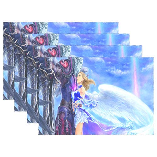(Placemat Set Wallpaper Couples in Love Girls Fantasy Angels Linen Print Table Mat Dishware for Dinner Square Placemats 12x18 inches Set of 6)