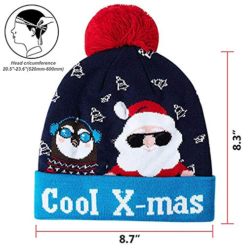 (Christmas Beanie Boos Cat, LED Light-up Knitted Ugly Sweater Holiday Xmas Christmas Beanie,Men's Hats & Caps,Multicolor)