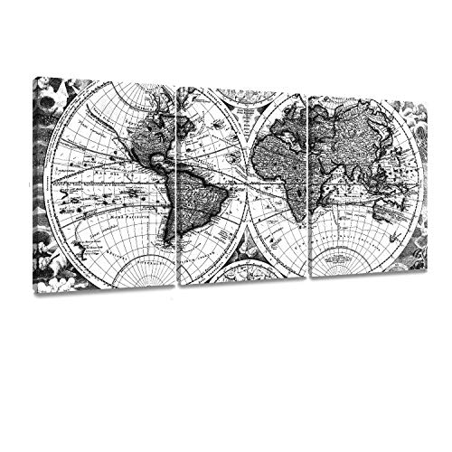 ArtKisser Maps World Painting Vintage Decor Poster Picture Old Scratch Framed World Map Printing Canvas Black and White Wall Art Ready to Hang for Living Room 12''x16'' 3 Piece 12' Black & White Framed