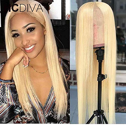 """HCDIVA Glueless 613 Blonde Lace Front Wigs Human Hair with Baby Hair Pre Plucked Peruvian Straight Lace Frontal Wig Can Be Dyed Honey Blonde Remy Lace Wigs For Women (24"""", staright) from HCDIVA"""