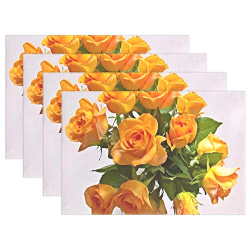 - NQEONR Bouquet Yellow Roses Roses Fragrant Large Flowers Placemats Set of 4 Heat Insulation Stain Resistant for Dining Table Durable Non-Slip Kitchen Table Place Mats