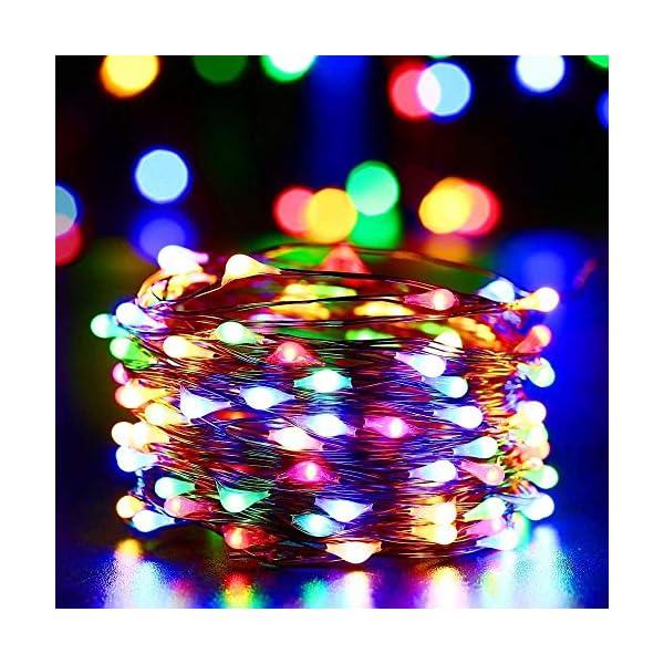 Qedertek Luci Natale Esterno Solare, Luci Natalizie 24M 240 LED, Lampadina Natale con Luci Colorate, Stringa Luci Solare Impermeabile, Luci Addobbi Natalizi per Albero di Natale (colore) 2 spesavip