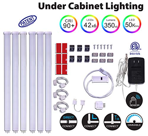 Build Small Cabinet - EBD Dimmable Under Cabinet LED Lighting - Hand Wave Activated & Touchless Dimming, 12 Inch Panel, Build-in 42 LEDs, 6x5.4W 2100lm, Natural Cool White 6500K Under Counter Lighting for Kitchen, 6 Pack