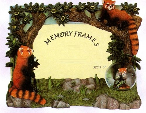 Sculptured Decorative Detailed Resin Sculptured Picture Frame - Playful Red Pandas and Mini Snow - Panda Picture Frame