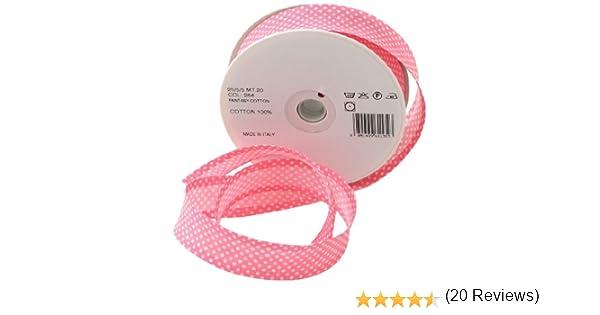 Inastri - Cinta bies de algodón, 25/5/ 5 mm, Color Rosa con Lunares Blancos 264: Amazon.es: Hogar