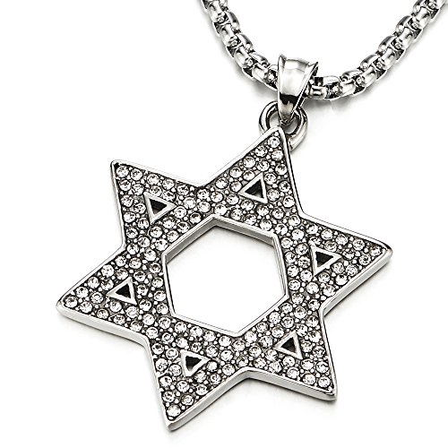 Large Star Of David Pendant - Mens Women Large Star-of-David Pendant Necklace with Cubic Zirconia, Stainless Steel