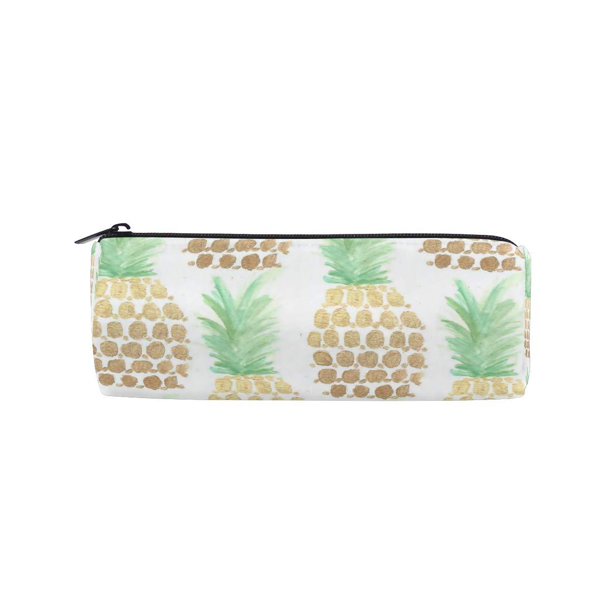 Pencil Case Trend Art Pineapples School Pen Pouch Office Zippered Pencil Cases Holder Women Makeup Bag