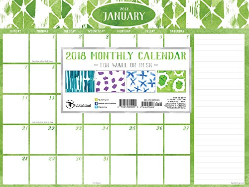 2018 Watercolor Monthly 9x12 Mini Desk Pad Calendar