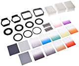 CowboyStudio Complete Square Filter Kit Compatible with Cokin P Series - Includes: Filters  Adapter Rings + Filter Holders + Lens Hoods + Cleaning Cloth