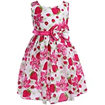 Colorful House Girls Dress Hot Pink Flower Bow Tie Party Sundress
