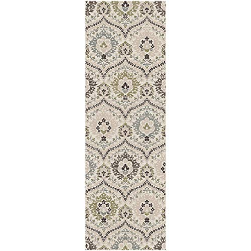 (Superior Designer Augusta Collection Area Rug, 8mm Pile Height with Jute Backing, Beautiful Floral Scalloped Pattern, Anti-Static, Water-Repellent Rugs - Beige, 2'7