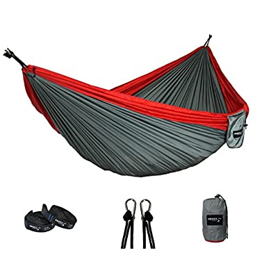 Nylon Double Camping Hammock With Tree Straps and Carabiners- Lightweight Portable Parachute Nylon for Backpacking, Recreation, Beach, Travel, Yard. (Red/Grey)