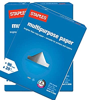 2 Pack: Staples Multipurpose Copy Fax Laser Inkjet Printer Paper, 8 1/2 Inch X 11 Letter Size, 20 Lb., 96 Bright White, Acid Free, Ream, 500 Sheets Each (1,000 Sheets Total)