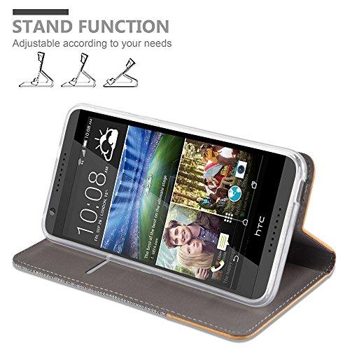 Cadorabo - Funda Estilo Book para HTC DESIRE 820 de Diseño Tela / Cuero Arificial con Tarjetero, Función de Soporte y Cierre Magnético Invisible