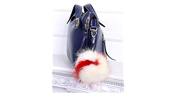 Amazon.com  Real fur Fluffy Ball Pom pom Keychain Handbag Key Ring for Car  White Red  Handmade 73a9c58527e34