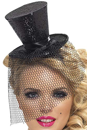 Fever Women's Mini Top Hat on Headband, Black, One Size, 32927 ()