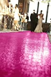 ShinyBeauty 4FTx30FT Sequin Aisle Runner, Fuchsia Aisle Carpet, Wedding Runner, Party Runner, Sparkly Floor Runner (4FTx30FT, Fuchsia)