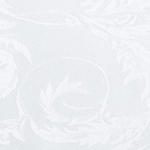 Ultimate Textile (5 Pack) Damask Melrose 60 x 120 Inch Oval Tablecloth - Home Dining Collection - Floral Leaf Scroll Jacquard Design, White by Ultimate Textile (Image #2)