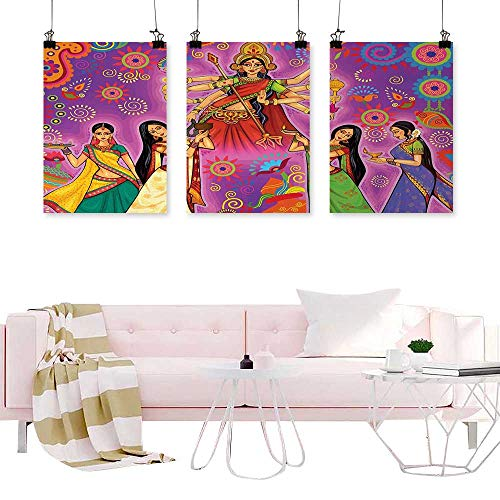 Hariiuet Triptych Wall Art Abstract Bengal,Asian Woman in Colorful Dress Cartoon Style Figures on Paisley and Flower Backdrop,Multicolor Calligraphy Paintings for Kitchen Vintage