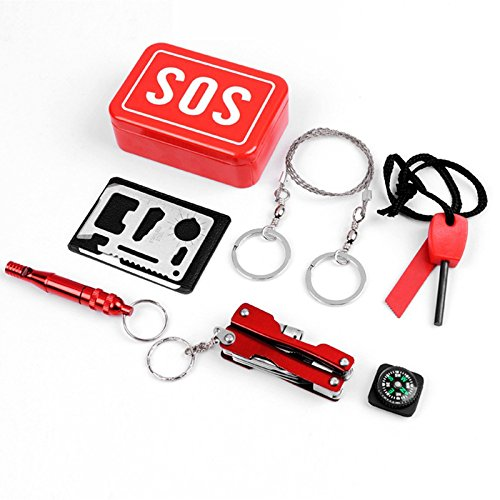 Emergency Survival SOS Kits Gear Set Bundle First Aid Tools Fire Starter Compass Pocket Knife Whistle Multi-function Saber Card Wire Saw, For Outdoor Camping Hiking Hunting Biking Climbing Traveling (Bundles Kindling)