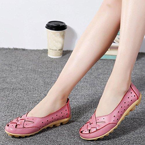 Cross Sandales Douces X Femmes zahuihuiM Automne Évider Slipper en Rose Appartements Mode Cuir Chaussures Pn7wx8q