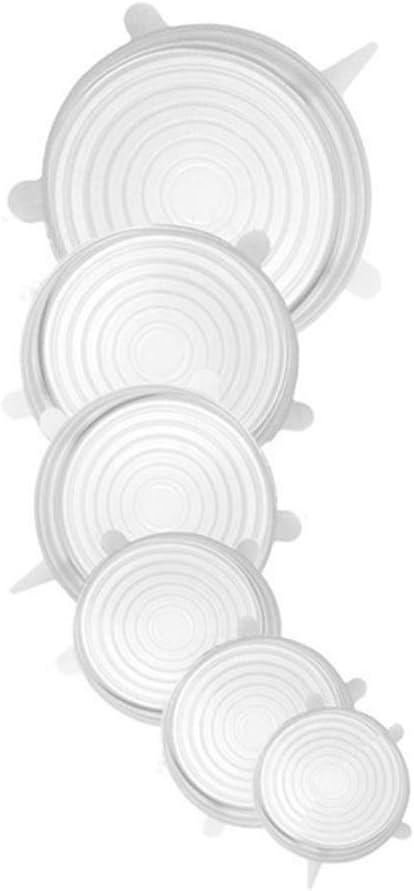 Dehnbare Silikondeckel Blau halten Sie Sch/üsseln Alimagic Verschlusskappe Obst und anderes frisch 6 pack Silikon Verschlusskappe Dosen wiederverwendbare Silikonh/ülle Dosen Kein BPA
