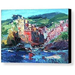 Cinque Terre Riomaggiore Artwork Canvas Wall Art Abstract Seascape Prints Impressionist Poster Italy Sea Ocean Coast Home Decor Living Room Gifts Women Men Christmas from Painting Agostino Veroni