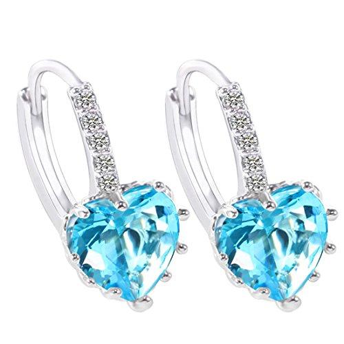 - Godyce Aquamarine Heart Earrings Hoop Azure Zircon Platinum Plated for Women Girl Jewelry with Branded Box