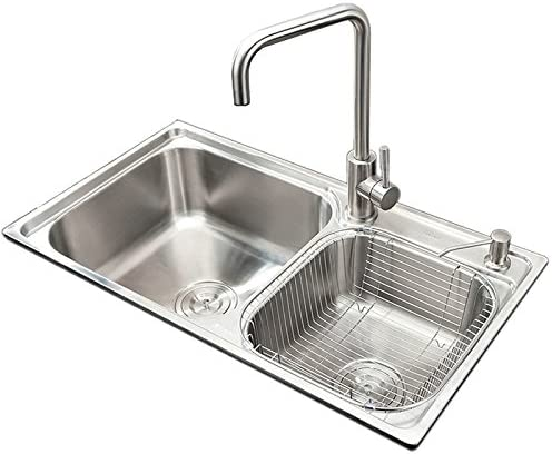 Homelava 304 Stainless Steel Double Bowl Kitchen Sink 28 Inch Under mount with Sound Guard Padding,Water Drain, Liquid Soap Dispenser and Drain basket