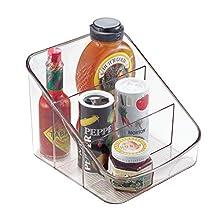 iDesign Caja transparente con 3 compartimentos, organizador de cocina grande de plástico, caja organizadora para especias o alimentos envasados, transparente