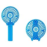 MINGLITAI Portable Handheld Fan Rechargeable, Mini Desk Fan with 3 Wind Speeds USB Rechargeable Battery, Compact Size - Ideal for Hang Out, Traveling, Hiking, Home, School, Classroom, Office (Blue)