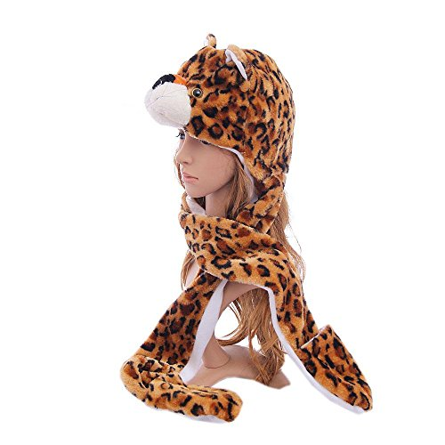 [Leopard_(US Seller)Hat Scarf Mittens Animal Cap Costume Long Paws] (Thailand National Costume For Girls Kids)