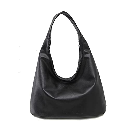 ZOONAI Women Soft Leather Hobo Style Handbag Shoulder Bag Purse (Black) 28b6eac4ab