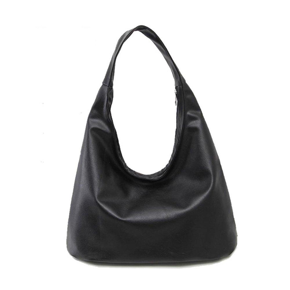 ZOONAI Women Soft Leather Hobo Style Handbag Shoulder Bag Purse (Black)