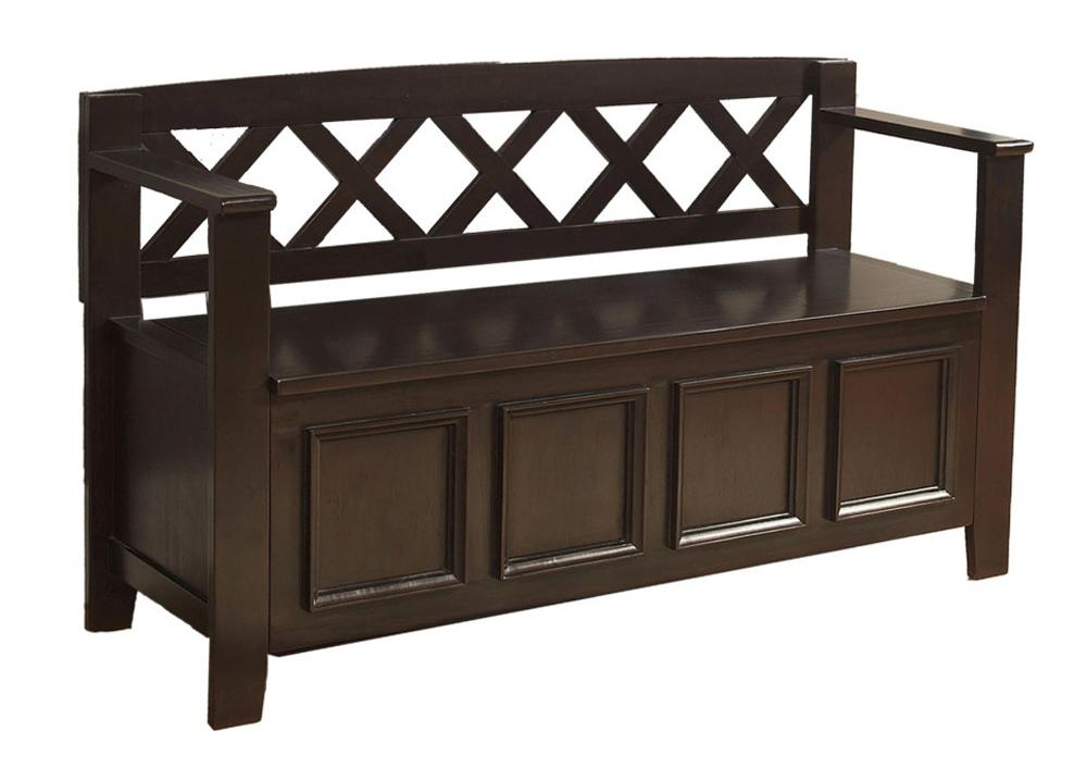 Simpli Home Amherst Entryway Storage Bench Dark Brown Kitchen Dining