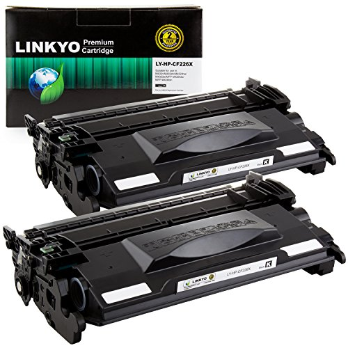 LINKYO Compatible Toner Cartridge Replacement for HP 26X CF226X (Black, High Yield, 2-Pack)