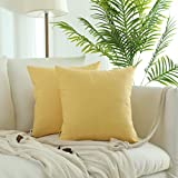 Kevin Textile Checkered Plaid Pillow Covers Simple Garden Style Cushion Case Cotton Linen Square Throw Pillowcase for Yard Chair, Pack of 2, 18'' x 18'', Sunshine Yellow