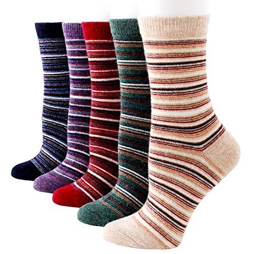 5 Pairs Men Socks Colorful Stripe Winter Soft Warm Thick Knit Wool Crew Sock