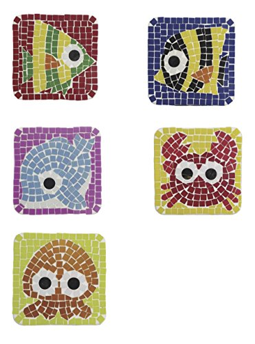 (DIY Mosaic Coaster/Magnet Kit Bundle - A Pack of 5 Lovely Sea Creatures Design (Yellow Angel Fish, Angel Fish, Dolphin, Crab, Octopus). Perfect to Use as Fridge Magnets or Coasters.)