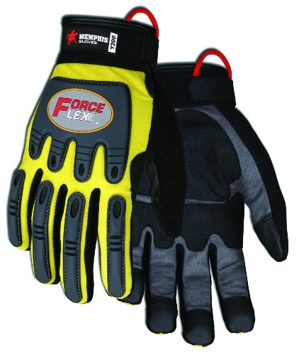 - MCR Safety Y200M ForceFlex Clarino Synthetic Leather Palm Pad Gloves with Adjustable Wrist Closure, Yellow/Black, Medium, 1-Pair