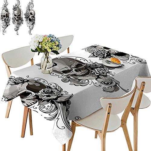 UHOO2018 Polyester Tablecloth Tattoo Artist Angel Inspired with Tattoo Ink Pencil and Fierce Skull Art Black Square/Rectangle Spillproof Tablecloth,50x 50inch ()
