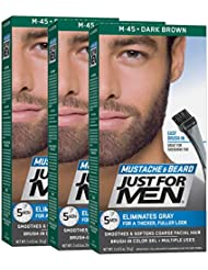 Just For Men Mustache & Beard Brush-In Color Gel, Dark Brown (Pack of 3)
