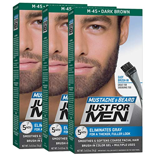 Just For Men Mustache & Beard Color, Beard Coloring for Men, Dark Brown (Pack of 3)